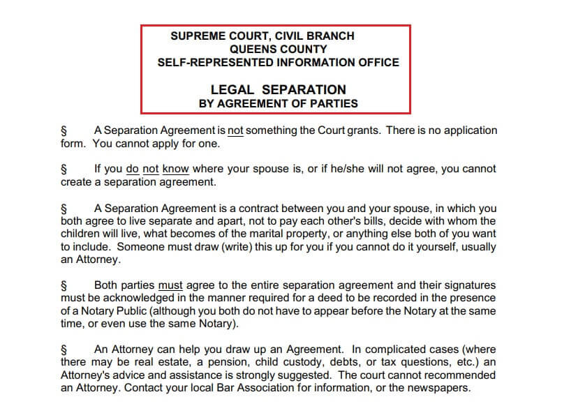 Legal separation official information from New York