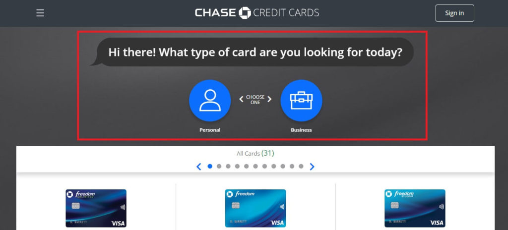 Chase website: card finder tool, questions