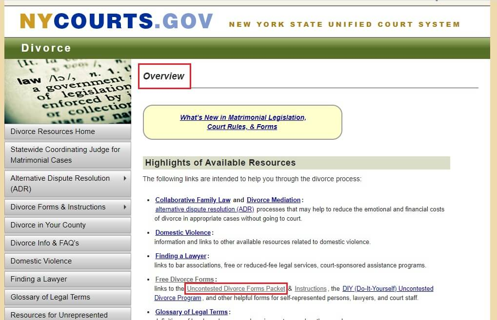 Overview page of Divorce in NYcourts.gov