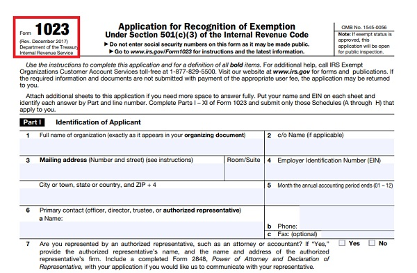 Form 1023: Application for Tax-exemption