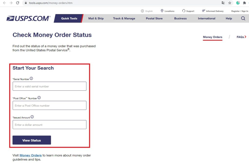 checking usps online money order