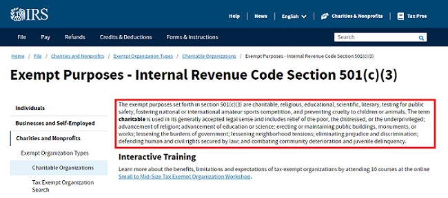 IRS Exempt Purposes for an organization