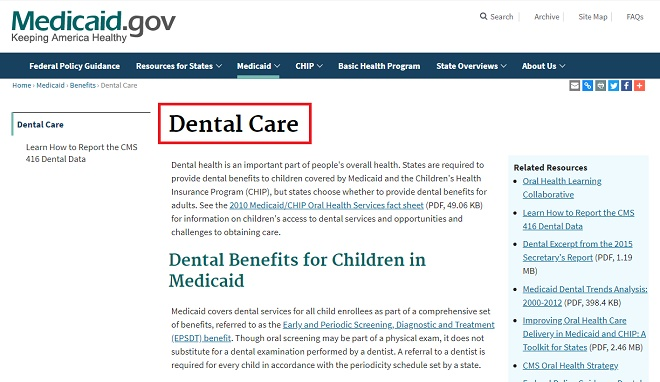 Medicaid Dental Care Program
