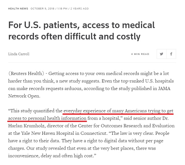 Reuters article about Medical Records