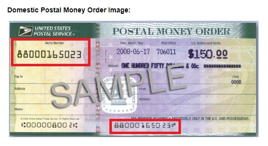 USPS money order, serial number