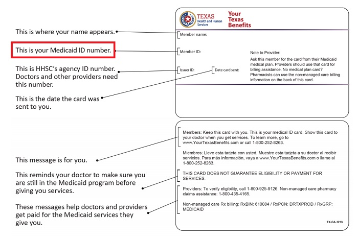texas medicaid card sample