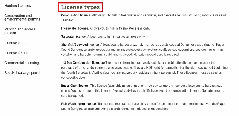 fishing license types and costs
