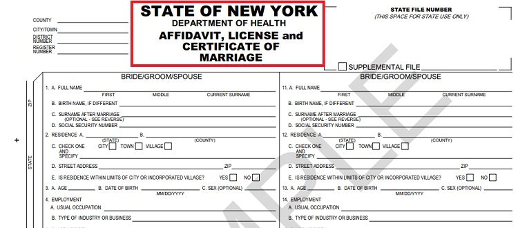 marriage license sample