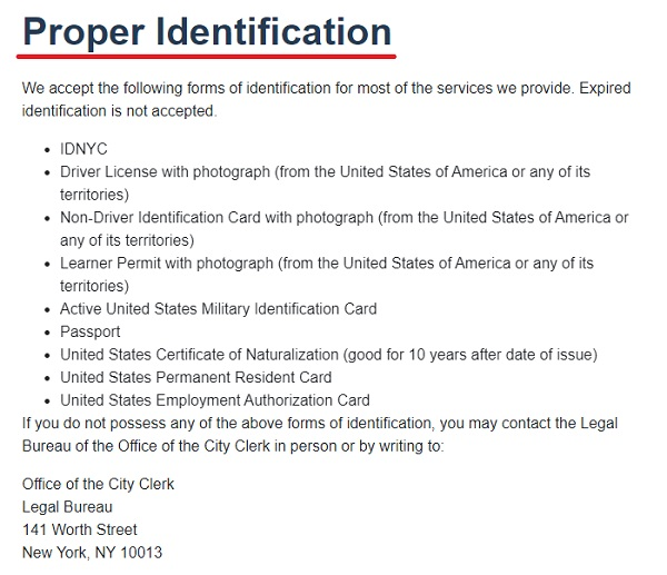 propper identification for marriage licenses