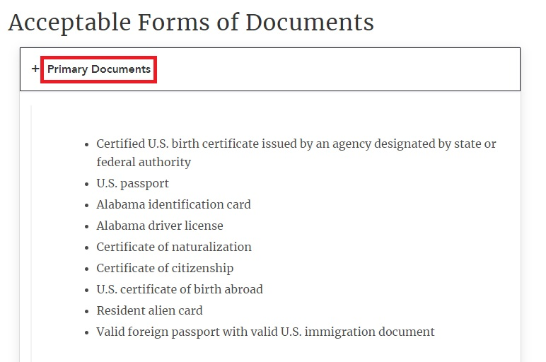alabama drivers license primary documents