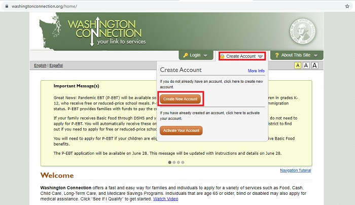 washington food stamps online application step 1