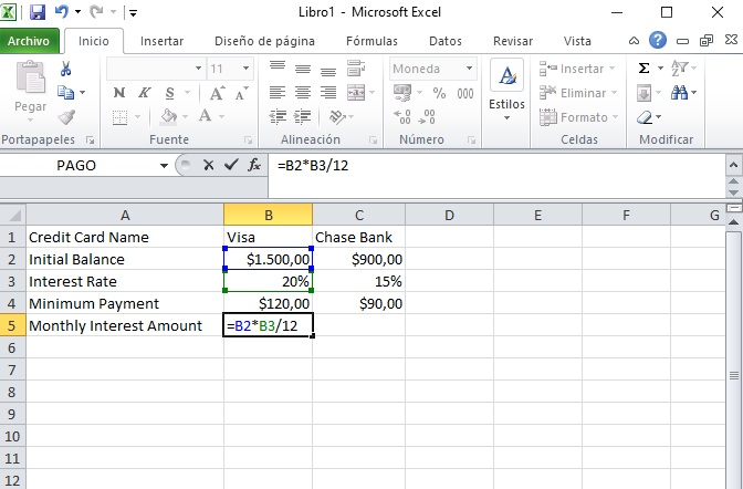 Easy steps to calculate credit card interest in Excel