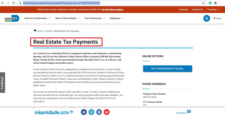 real estate tax payments in miami