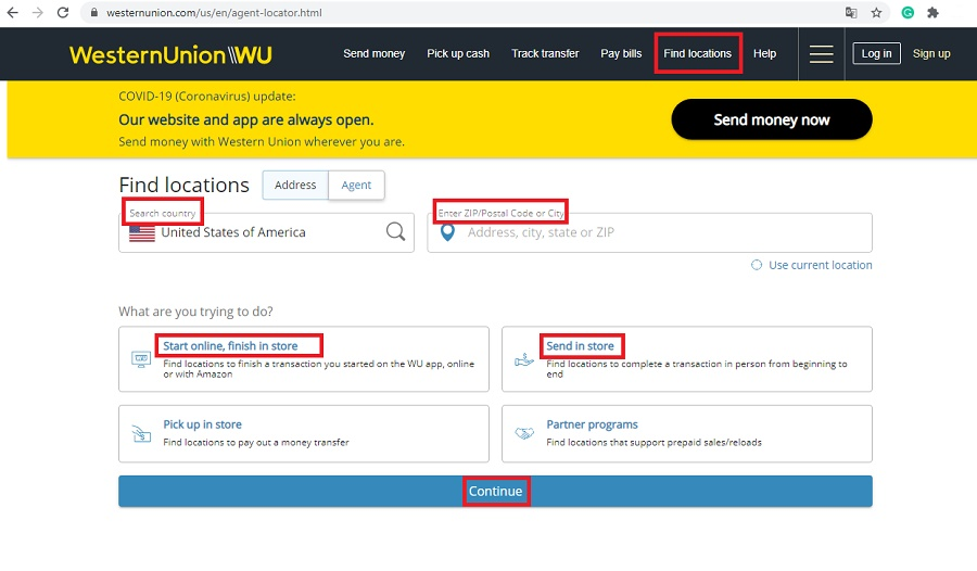 western union find locations