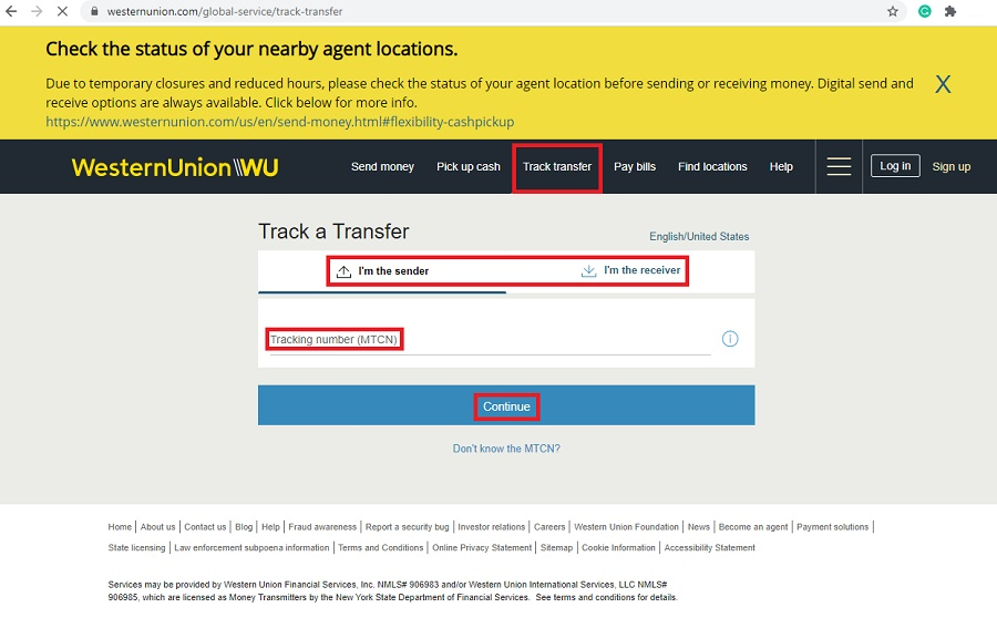 western union track transfer for a money order