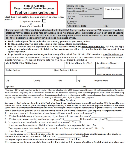 food assistance aplication form
