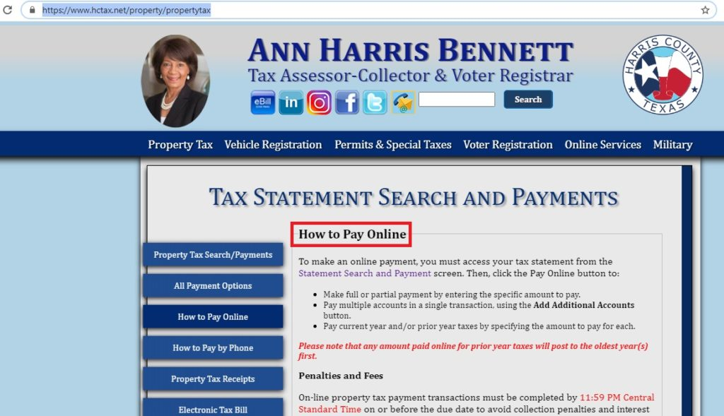 harris county online payment