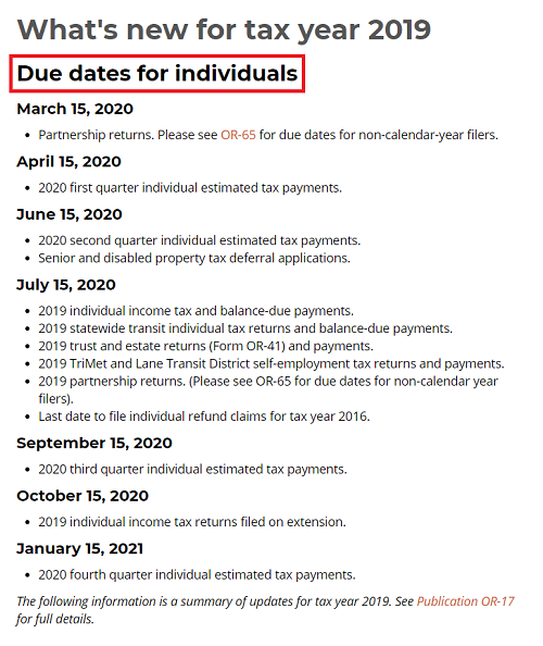 oregon state taxes due dates for individuals
