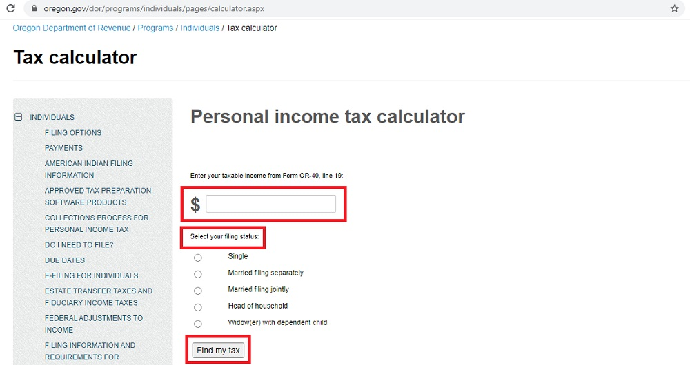 oregon tax calculator