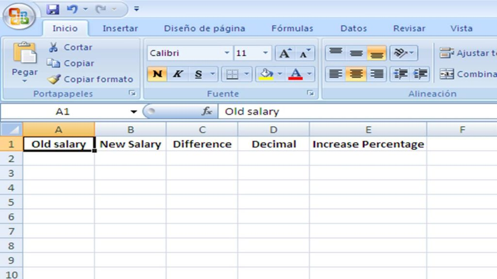 salary increase percentage in excel step 1