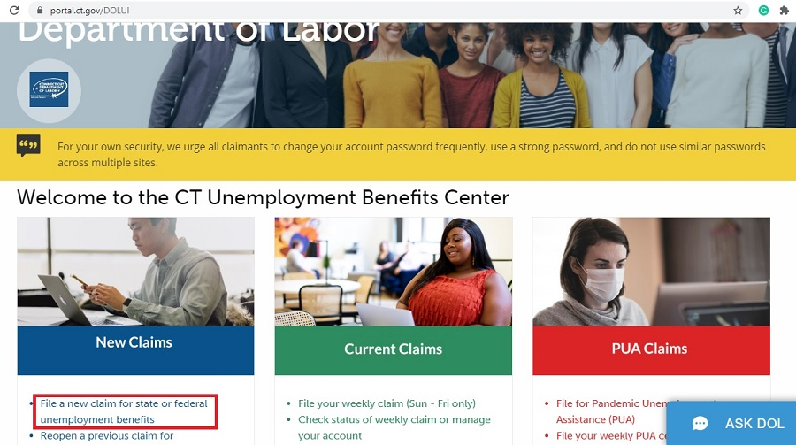 step 1 applying for unemployment benefits in connecticut