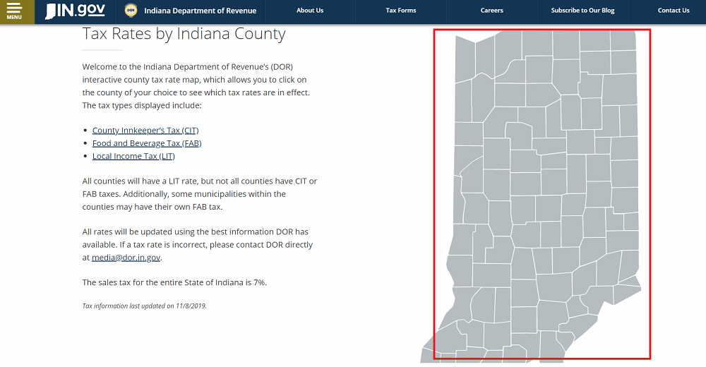state tax rates by indiana county