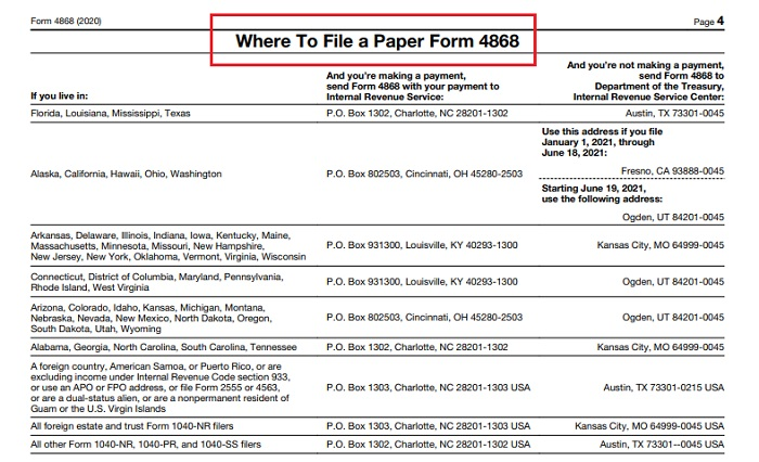 form 4868 where to mail it
