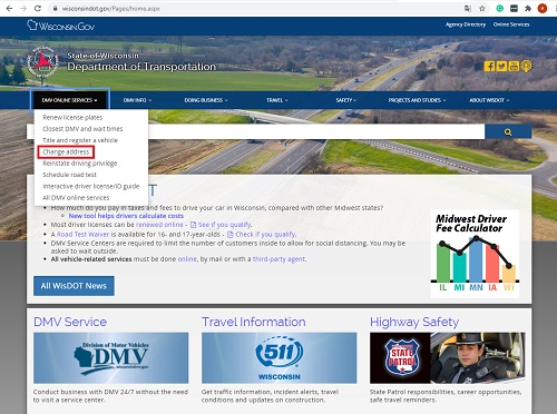 state of wisconsin department of transportation homepage