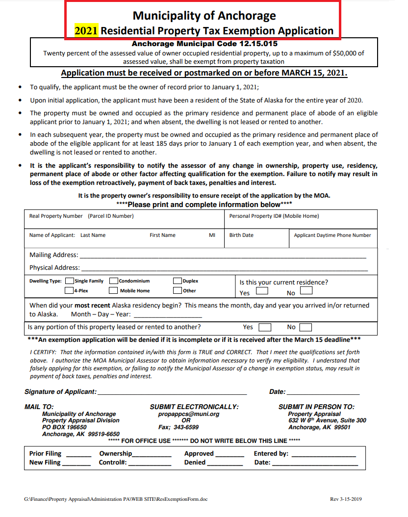 residential property tax exemption application form