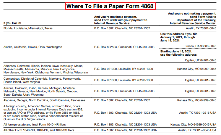 where to file form 4868